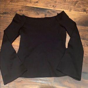 L'Agence off shoulder black long sleeved top